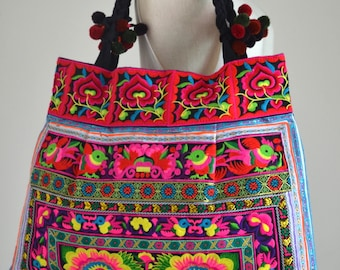 Women Handcrafted in Floral Design Bag Hmong Bag Hill Tribe Bag Embroidered Bag Shopping Tote with Pom Pom Cotton Straps Ethical Product YT2