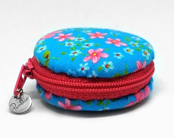 Blue Macaron purse. Cookie pastry. Play food toy. Accessory sewed miniature macaron. Food Plushie. Tiny purse. Palm sized. Ready to ship.