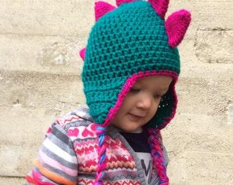 Pink Dinosaur Crocheted Hat - 12-24 months - Baby Toddler Girl Beanie