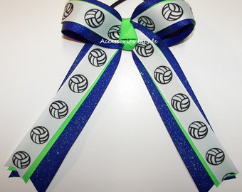 Bulk Price, Volleyball Bow, Sparkly Blue Neon Green Ponytail Holder, Volleyball Cheap Bows, Volleyball Wholesale Bows, Team Spirit Ribbons