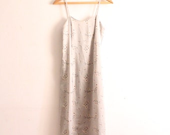 Pale Floral 90s Slip Maxi Dress