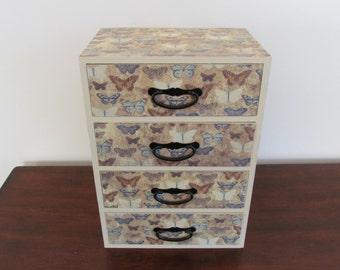 Beige Jewelry Box with Butterflies