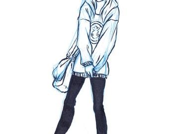 INKtober Girl Looking Left with Bag Comfy Fashion Art Print, Original Ink Print, Original Artwork Print, Fashion Print
