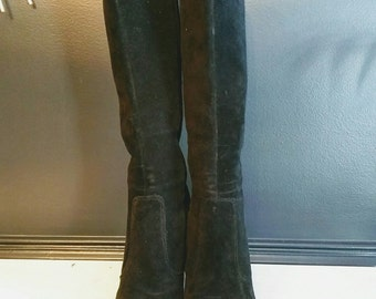 Suede Knee High Boots / Black Heeled Boots Size 8 Medium / Suede Platform Boots Leather Stacked Heels