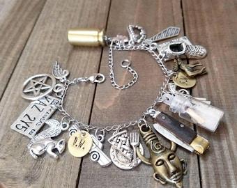 Supernatural charm bracelet - supernatural bracelet - ghost hunter - supernatural jewelry - charm bracelet - cosplay - supernatural gifts