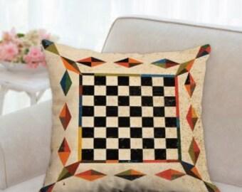 Rustic Checker Board Game Pillow
