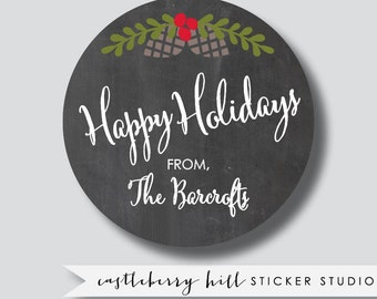 Holiday stickers, holiday gift tags, holiday labels, holiday gift labels, personalized sticker, custom holiday tags, custom holiday label