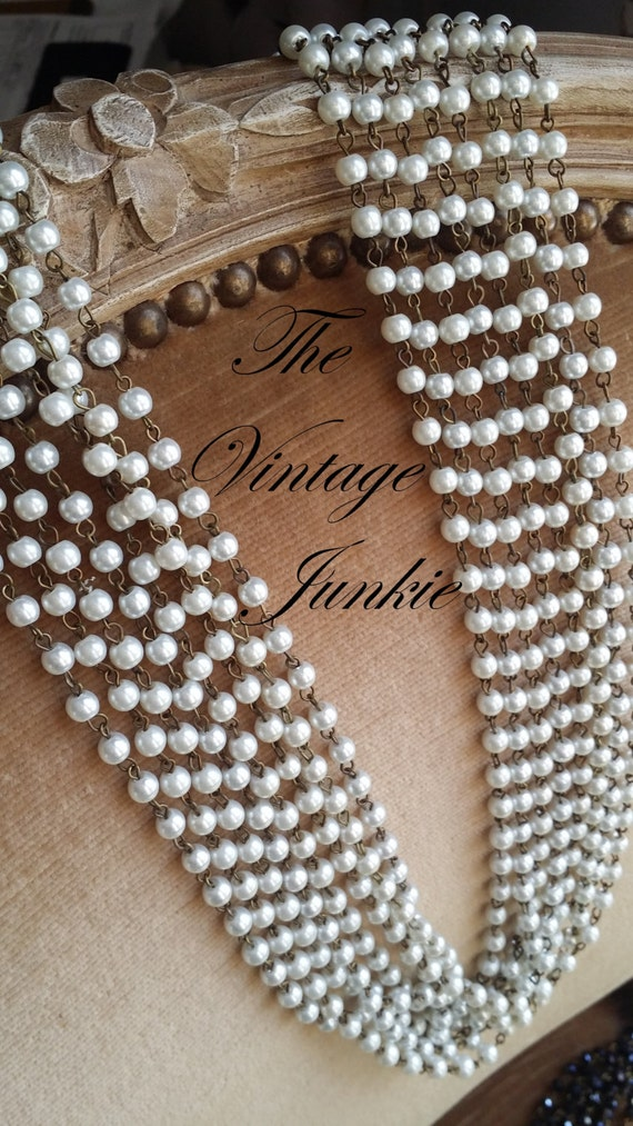 The Vintage Junkie...Long Layering Glass Pearl  6mm Beaded Necklaces