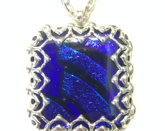 Cobalt Blue Fused Glass Pendant with Handmade Bezel / Blue Dichroic Glass / Silver Colored (Tin) Bezel / Stainless Steel Chain