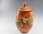 Bird ceramic urn - cremation urn - ceramic canister - bird urn - pottery canister - orange gold bird jar - oak leaf canister - J67
