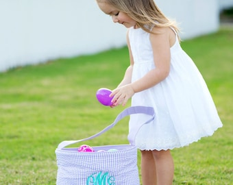 Purple Seersucker Easter Bucket for Kids, Fun for carrying Eggs. Easy to Carry toys to the car for traveling.Beautiful Free Embroidered name