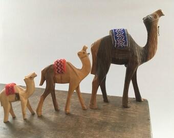 Handcarved wooden camel figurine Wood camel Handmade wooden animal figurine Camel statue