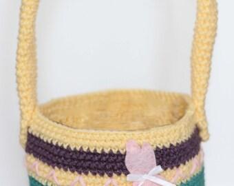 Personalized Easter Basket/ Bunny Easter Basket/ Girls Easter Basket/ Crocheted Easter Basket/First Easter/ Spring/ Easter egg/
