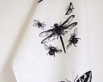 Dragonfly Insects white linen hand printed  tea towel black print on white