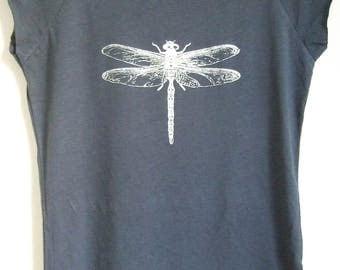 Womens organic t shirt denim blue eco T shirt silver dragonfly print bamboo viscose and organic cotton