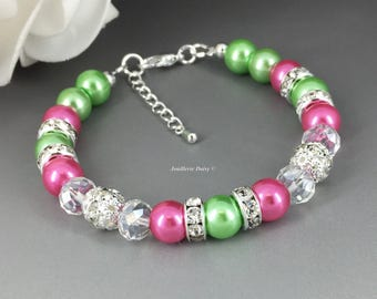 Apple Green and Hot Pink Bracelet Pearl Bracelet Beaded Bracelet Hot Pink and Green Bridesmaid Bracelet Bridesmaid Jewelry Gift for Her