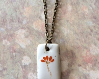Orange Necklace - Orange Jewelry - White Necklace - White Jewelry - White Pendant - Burnt Orange - Flower Necklace - Flower Jewelry - Gift