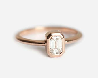 Emerald Cut Diamond Ring, Solitaire Diamond Ring, Rose Gold Engagement Ring, Rose Gold Diamond Ring, 18k Gold Diamond Ring