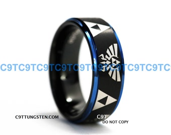 8MM Tungsten Ring, Legend Of Zelda Inspired Design, Black Satin Finish With Deep Ocean Blue Step, Free Inside Engraving