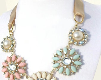 Seafoam Green PInk & Cream Rhinestone Flower Multi color Briolette Bib Bubble Statement Necklace
