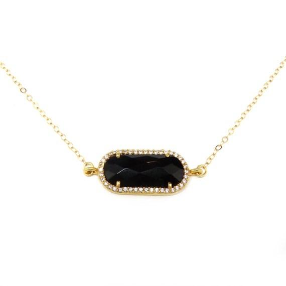 Tiny Choker, Dainty Gold Choker Necklace, Gold Framed Gemstone Necklace, Suspended Gemstone Bar Necklace, Black Onyx, Gemstone Pendant