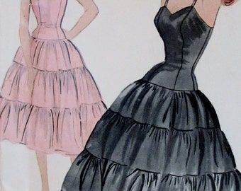 Vintage 1954  Mccall's  Misses Petticoat Slip Sewing Pattern, Full Slip Fit and Flare  Ruffles  #9730 Size 12  Bust 30  **Epsteam