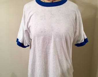 Vintage 70s 80s White and Blue Ringer Tee Size L Comfortable Cotton Tee Shirt Basics