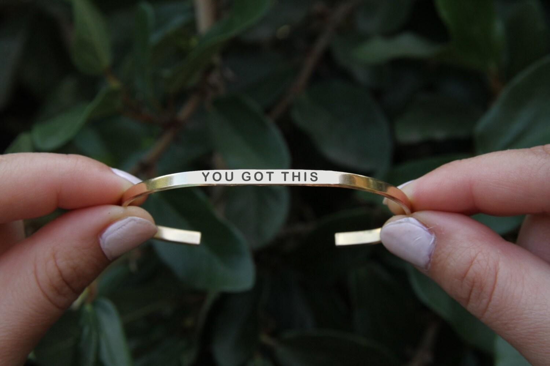 You Got This Cuff Bracelet Yoga Jewelry Quote Jewelry