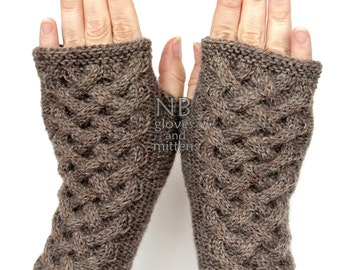 Hand Knitted Fingerless Gloves, Brown, Gloves & Mittens, READY TO SHIP