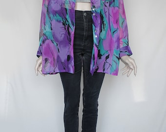 70s Vintage Purple Cyan Colorful Transparent Lustful Blouse for Women
