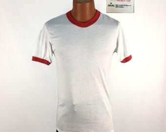 Vintage 80s Red + White Blank Ringer T-Shirt MEDIUM // 1980s // 50-50 // Stedman // NOS // Deadstock // Soft & Thin // USA Made