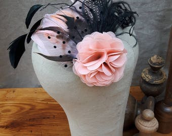 fascinator bridal headpiece blush millinery hairflower Vintage bestseller pastel feathers wedding bridesmaid polka dots black pink rose