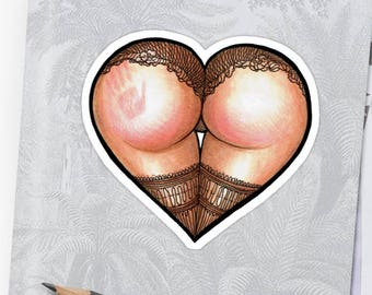 "STICKER ""Spank!"" Booty Heart Series 1"