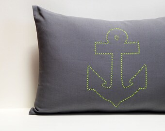 Hand embroidered anchor Neon 40x60 zipper pillow gray nautical