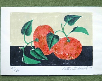 70s print signed by Peter Orlando, Still life / Clementine, 1970s