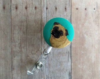 Pug Badge Clip ID Holder, Brown Pug on Aqua Cotton, Choice of Clip Styles, Made in USA, Retractable Dog Badge Clip, Dog Badge Reel