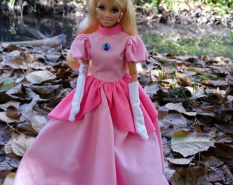 Super Mario modern style Princess Peach dress and gloves fitted for modern barbie and similar 1/6th scale fashion dolls