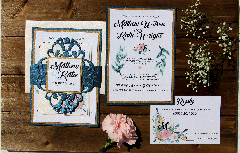 Diy Wedding Invitations Canada: Gold Navy Blush Wedding Invitation With Cut-Out Belly Band