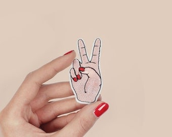 Patch ironfix hand peace sign / DIY applique for textile / Malicieuse shop