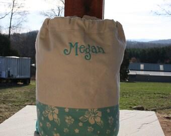Monogrammed Aqua Beach Bag Aqua Canvas Drawstring Bag