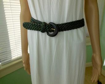 Vintage BRAIDED LEATHER Belt/Woven Leather Belt/Mens Belt/Womens Belt/Green Leather Belt/Green Belt/Boho Hippie/Cinch Belt/Rockabilly/Medium