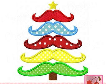 Christmas Tree mustaches tree Machine Embroidery Applique CH0085 -approximate 4x4 5x5 6x6 inch