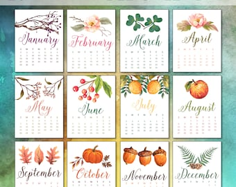 NEW! 2017 Printable Calendar January through December - 8x10 Download (12 Pages)