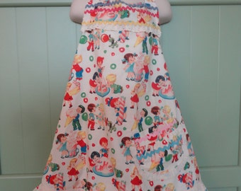 Girl's Apron, Girl's Baking Apron, Full Apron, Doll Apron, Candy Print Ruffled Apron, Matching Aprons, American Girl Apron
