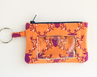 Deer Coin Purse with ID Window, Zipper Pouch, Key Wallet, Earbud Case, Orange, Purple Reindeer, and Tan Floral Cotton Fabrics, Handmade