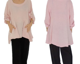 HW100RA ladies tunic one oversize blouse vintage linen size turn up arm Gr. 40 42 44 pink