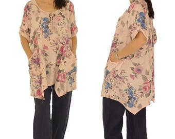 HJ900RA44 ladies tunic blouse linen vintage Gr. 44 / 46-pink