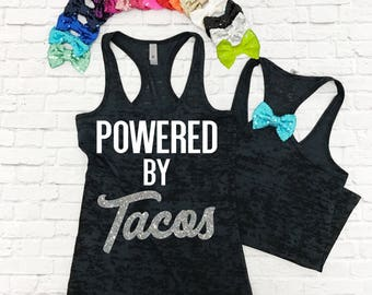 Powered By Tacos - Yoga Tank. Gym Shirt. Workout TShirt. Marathon Tank Top. Burnout Shirt. Bow Running Shirt.