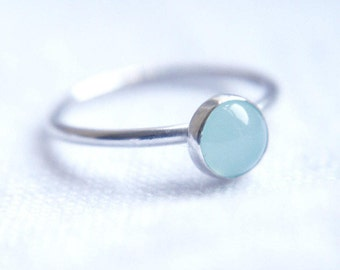Stacking ring-  Sea blue agate stacking ring, Simple ring, Gemstone ring, Gift for her, Girlfriend jewellery, silver jewellery