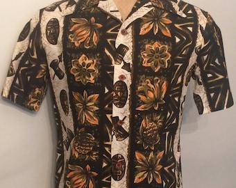 Vintage MENS 50s-60s Ui-Maikai short sleeve Hawaiian cotton shirt, made in Hawaii, size M